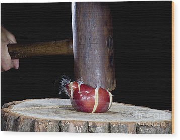 Apple Smashed With Mallet Wood Print by Ted Kinsman