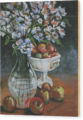 Apples And Flowers Wood Print