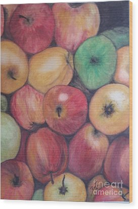 Wood Print featuring the painting Apples by Suzette Kallen