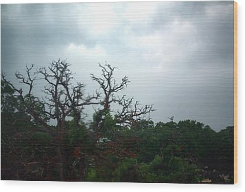 Wood Print featuring the photograph Approaching Storm Viewed Through My Rain Streaked Window by Lon Casler Bixby