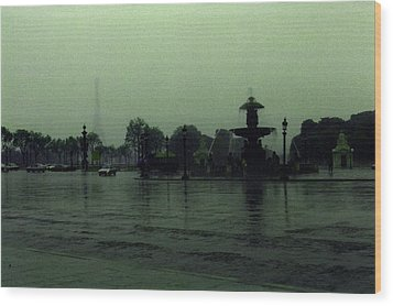 Wood Print featuring the photograph April Fog With Water Fountain by Louis Nugent