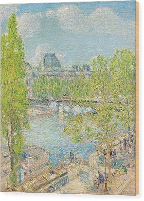 April On The Quai Voltaire In Paris Wood Print by Childe Hassam