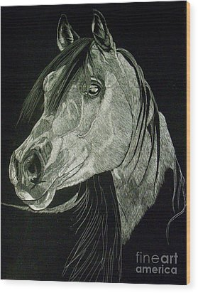 April The Horse Wood Print by Yenni Harrison