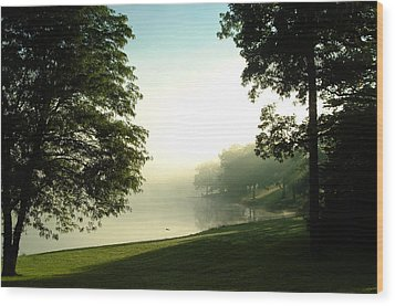 Aqua Lake Myst And Trees Wood Print by Peg Toliver