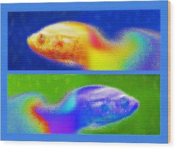 Aquarium Art Diptych 2 Wood Print by Steve Ohlsen