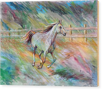 Wood Print featuring the painting Arabian Dream Horse by Nancy Tilles