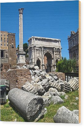 Arch Of Septimius Severus Wood Print by Gregory Dyer