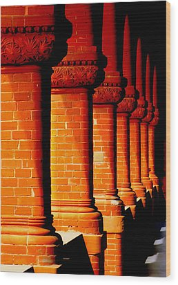 Archaic Columns Wood Print by Karen Wiles