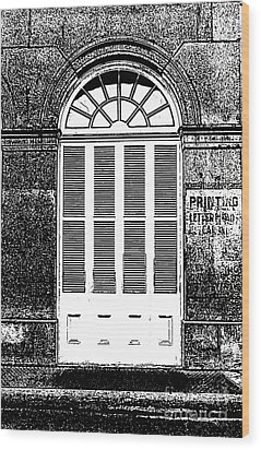 Arched White Shuttered Window French Quarter New Orleans Photocopy Digital Art  Wood Print by Shawn O'Brien