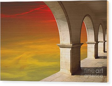 Arches At Sunset Wood Print by Carlos Caetano