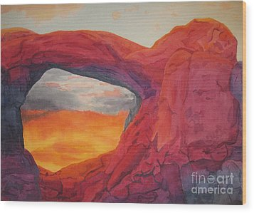 Arches Sunfire Wood Print by Vikki Wicks