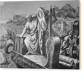 Archimedes Heat Ray, Siege Of Syracuse Wood Print by Science Source