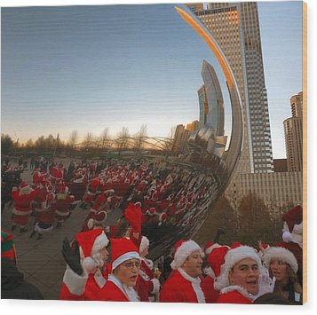 Architecture Chicago Cloud Gate With Santas Wood Print