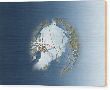 Arctic Exploration, Route Maps Wood Print by Mikkel Juul Jensen