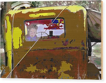 Wood Print featuring the mixed media Are We There Yet by Charles Shoup