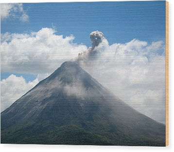 Wood Print featuring the photograph Arenal Eruption by Eric Tressler