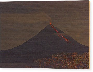 Arenal By Night Wood Print