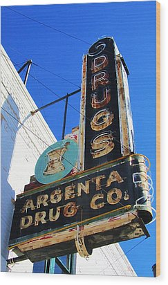 Argenta Drug Co. Wood Print by Todd Sherlock