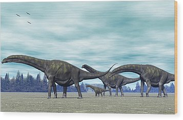 Wood Print featuring the digital art Argentinosaurus by Walter Colvin