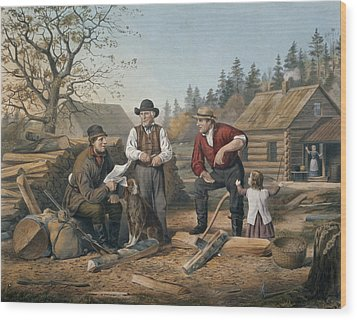 Arguing The Point Wood Print by Currier and Ives