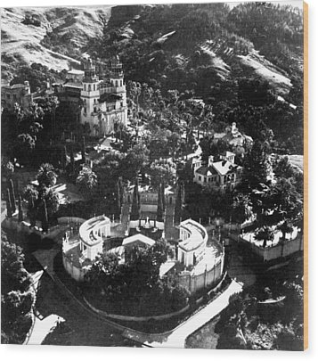 Arial View Of Hearst Castle, San Wood Print by Everett