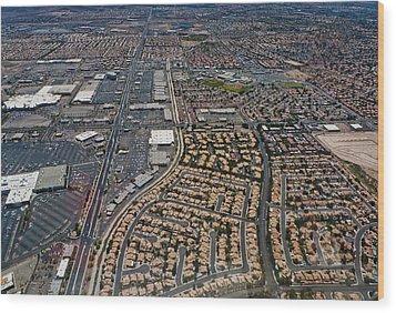 Arial View Of Las Vegas Wood Print by Susan Stone