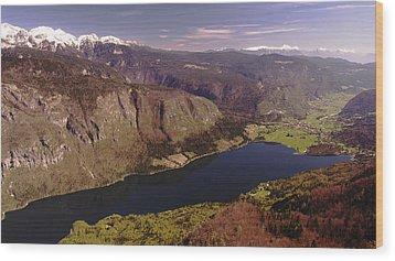 Wood Print featuring the photograph Ariel View Of Lake Bohinj Slovenia by Graham Hawcroft pixsellpix