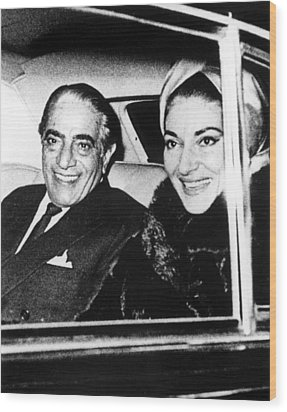 Aristotle Onassis And Maria Callas Wood Print by Everett