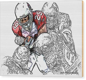 Arizona Cardinals Chester Taylor Seattle Seahawks David Hawthorne Clinton Mcdonald And Red Bryant Wood Print by Jack K