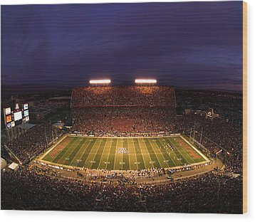 Arizona Stadium Under The Lights Wood Print by J and L Photography