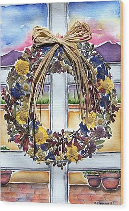 Arizona Wildflower Wreath Wood Print by Regina Ammerman