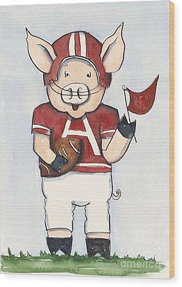 Arkansas Razorbacks - Football Piggie Wood Print by Annie Laurie