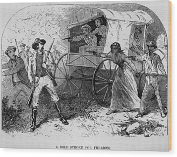 Armed Fugitive Slave Family Defending Wood Print by Everett