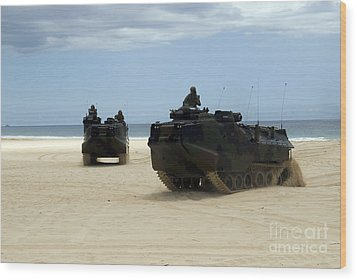 Armored Assault Vehicles Performing Wood Print by Stocktrek Images