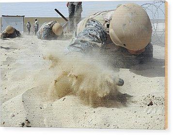 Army Soldier Pulls Himself Wood Print by Stocktrek Images