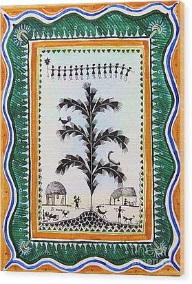 Around The Tree Wood Print by Anjali Vaidya