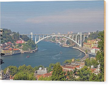 Arrábida Bridge Over River Wood Print by Cmanuel Photography - Portugal