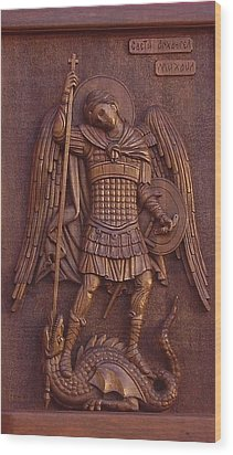Art Icon Of St. Archangel Michael Wood Print by Goran