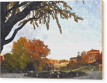 Art In The Fall Wood Print by Andrew Dinh