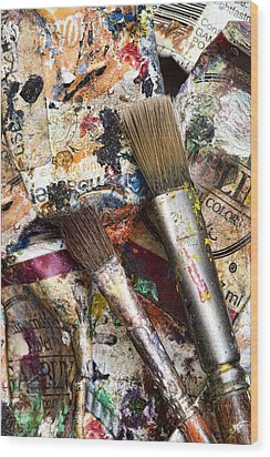 Art Is Messy 1 Wood Print by Carol Leigh