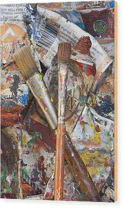 Art Is Messy 3 Wood Print by Carol Leigh