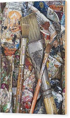 Art Is Messy 4 Wood Print by Carol Leigh
