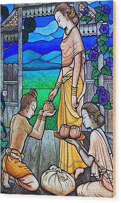 Art Thai Painting On Glasses  Wood Print by Songsak Wilairit