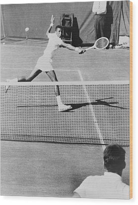 Arthur Ashe, 1943-1993, Playing Tennis Wood Print by Everett