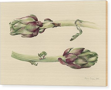 Artichokes Wood Print by Alison Cooper