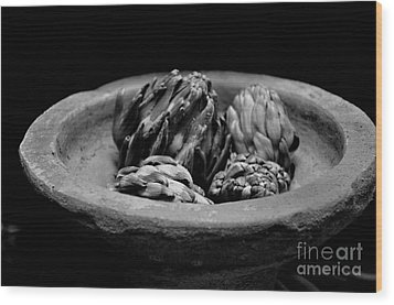Artichokes In A Stone Dish Wood Print by Tanya  Searcy
