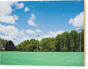 Artificial Turf Athletic Field Wood Print by Sam Bloomberg-rissman