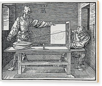 Artist Drawing A Lute Wood Print by Sheila Terry