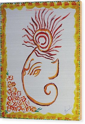 Wood Print featuring the painting Artistic Lord Ganesha by Sonali Gangane