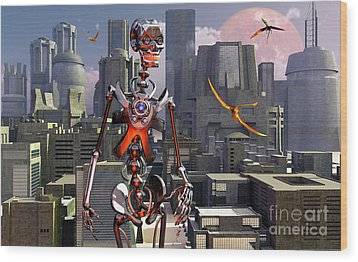 Artists Concept Of A City Of The Future Wood Print by Mark Stevenson